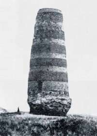 An old photograph showing the cannibalised tower
