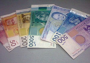 Kyrgyz banknotes - printed in a rainbow of colours