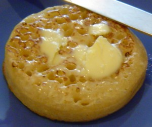 A hot buttered crumpet ... waiting for a dolop of Marmite
