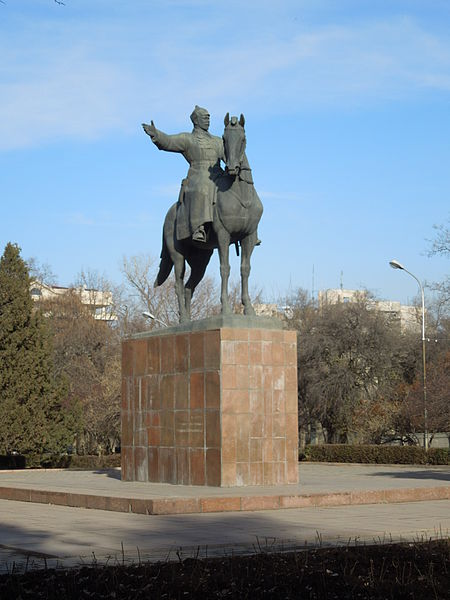 Statue of the Great man opposite Bishkek's main railway station