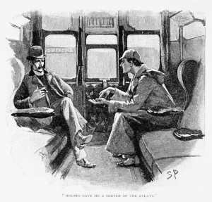 A typical image of Holmes and Watson - drawn by Sydney Paget